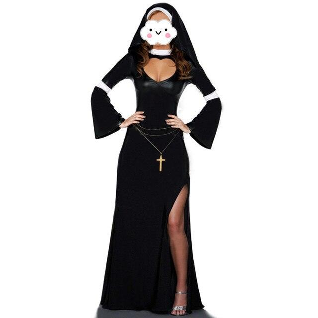 279bacb94 € 15.27 8% de DESCUENTO|Disfraz de monja Sexy para mujeres adultas vestido  de Cosplay con capucha negra para disfraz de Halloween Cosplay vestido de  ...