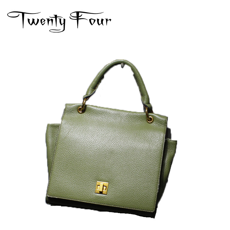 Twenty-four 2017 Genuine Leather Women Trapeze Bags Fashion Style With Lock Shoulder Bags Messenger Bags Small Cross Body Bags twenty four women brand flap bags natural genuine leather handbags with chain solid color cover small bags young cross body bags