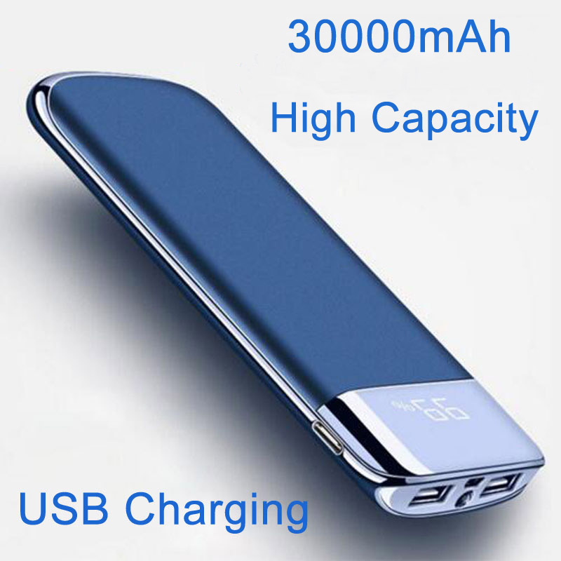 Power Bank 30000mAh 2 USB LCD Powerbank Portable External Battery Mobile Phone Universal Charger for Xiaomi MI for iphone 8 in Mobile Phone Chargers from Cellphones Telecommunications