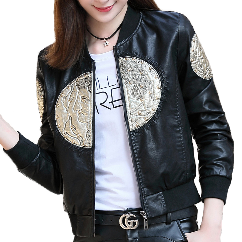 Short jacket women 2018 embroidery   leather   Outerwear students Baseball uniform Washed   leather   Beading fashion Short jackets 2232