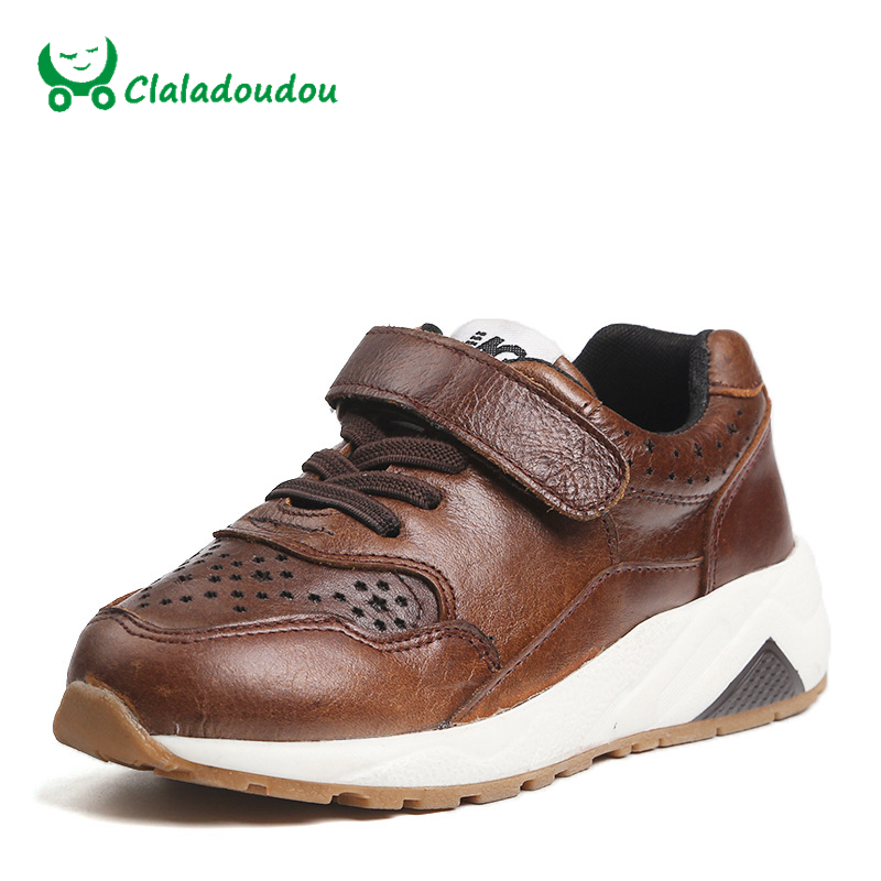 Claladoudou Boys Sneakers Black Height Increasing Kids Genuine Leather Sport Shoes Brown Breathable Girls Soft School
