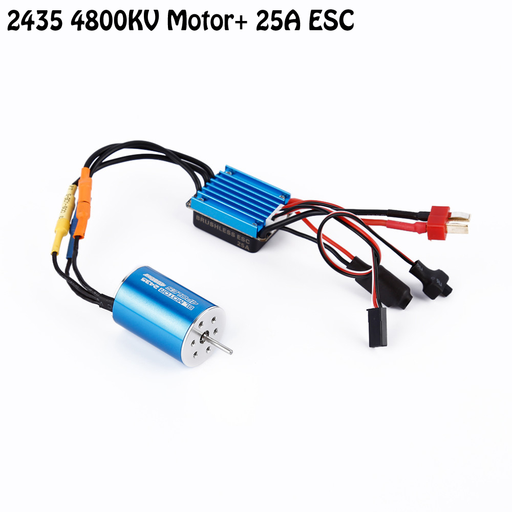 OCDAY RC Car Model Parts 2435 4800KV 4P Sensorless Brushless Motor with 25A Brushless ESC for 1/16 1/18 RC Car Off Road Truck 3650 3900kv 4p sensorless brushless motor 60a brushless elec speed controller esc w 5 8v 3a switch mode bec for 1 10 rc car