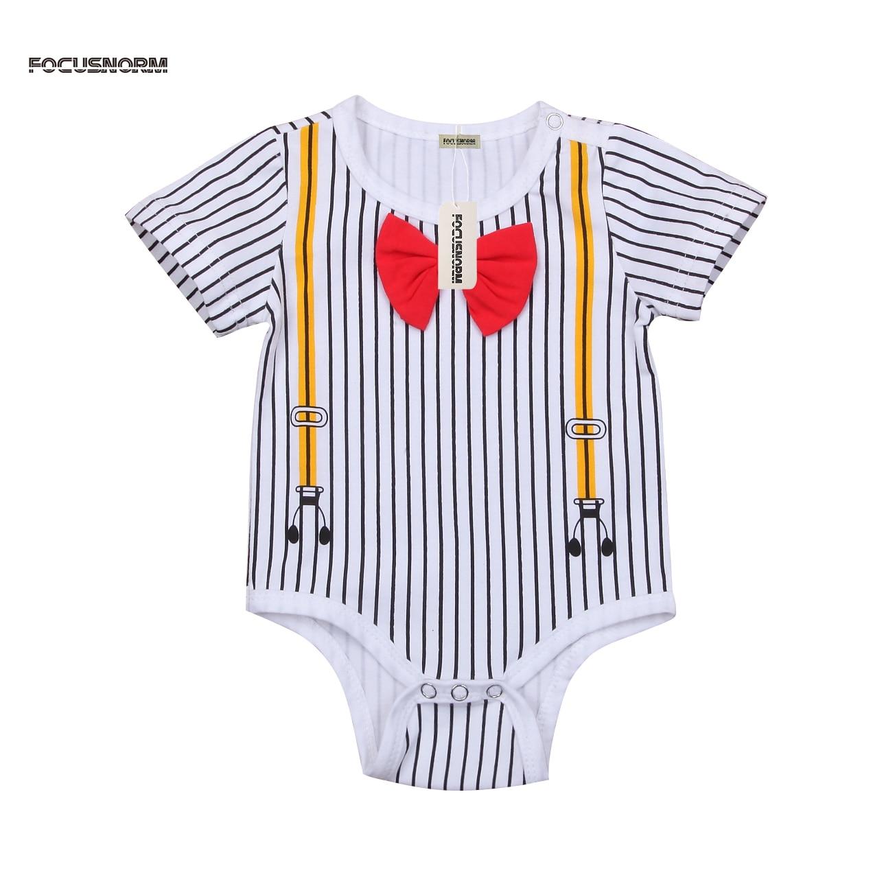 ee15d9b20 Cool Newborn Baby Boy Gentleman Bodysuit Red Bow Tie Striped ...