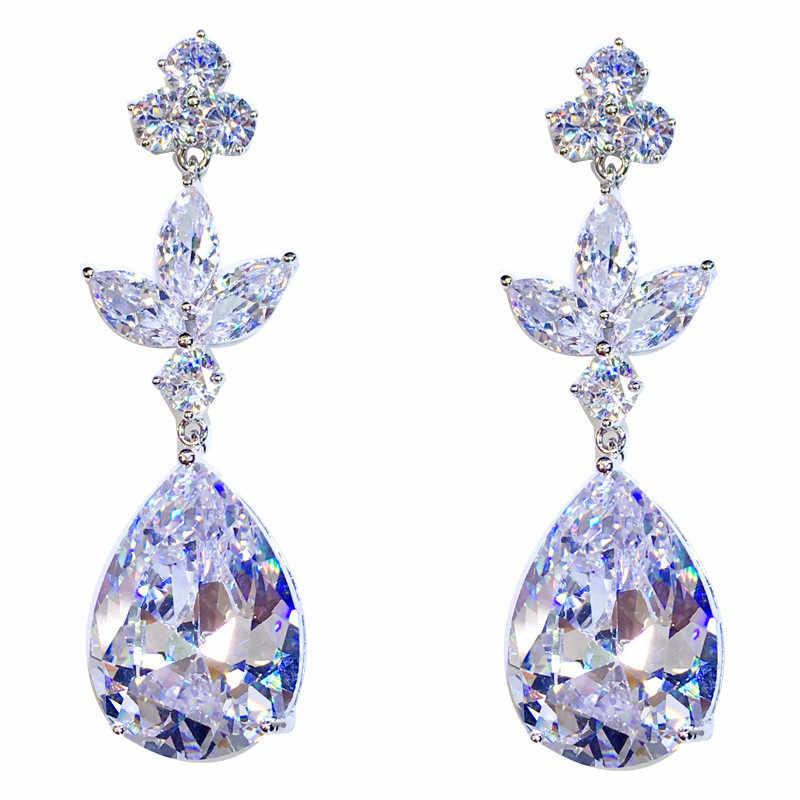 Boho brincos de gota de água de cristal feminino luxo moda cor prata zircão pedra brincos vintage longo balançar brincos para mulher