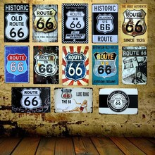 [ Mike86 ] Route 66 Metal Plaque Gift PUB art House Sign Poster Bar Craft Wall Sign Decor FG-4 Mix order 20*30 CM(China)