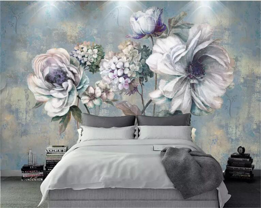 Beibehang Custom Wall Papers Home Decor Formaldehyde-free Personalized Wallpaper Vintage Flower Oil Painting 3d Wallpaper Mural
