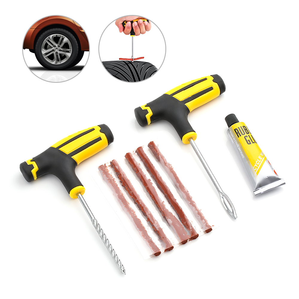 Car Tire Repair Tool Tire Repair Kit Studding Tool Set Auto Bike Tubeless Tire Tyre Puncture Plug Garage Car Accessories(China)