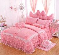 WINLIFE Pink Lace Ruffle Bedding Set Korean Princess Bowknot Duvet Cover Sets Queen