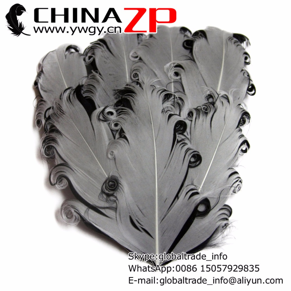 Gold Manufacturer CHINAZP Factory 50pcs/lot Dyed Silver and Black Curly Nagorie Feather Pads for Baby Headbands