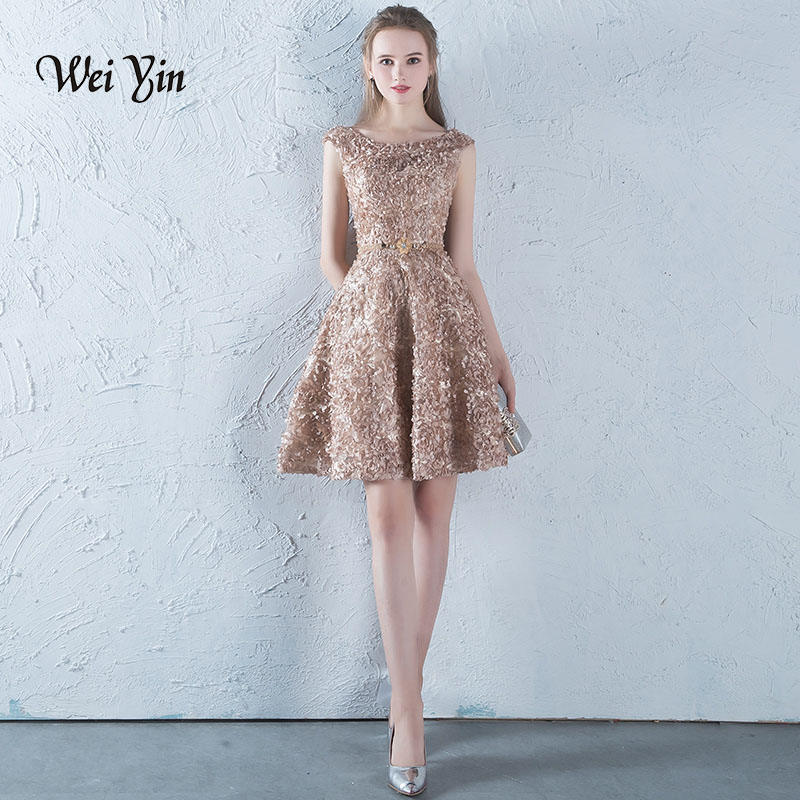 weiyin Robe De Soiree Lace A-line Cocktail Dress The Banquet Elegant Lace Up Party Formal Dresses Custom Made Party Gown WY850