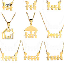 Eleple Cartoon Family Series Stainless Steel Necklaces for Women Men Girls Banquet Gifts Jewelry Custom Dropshipping S-N583-692