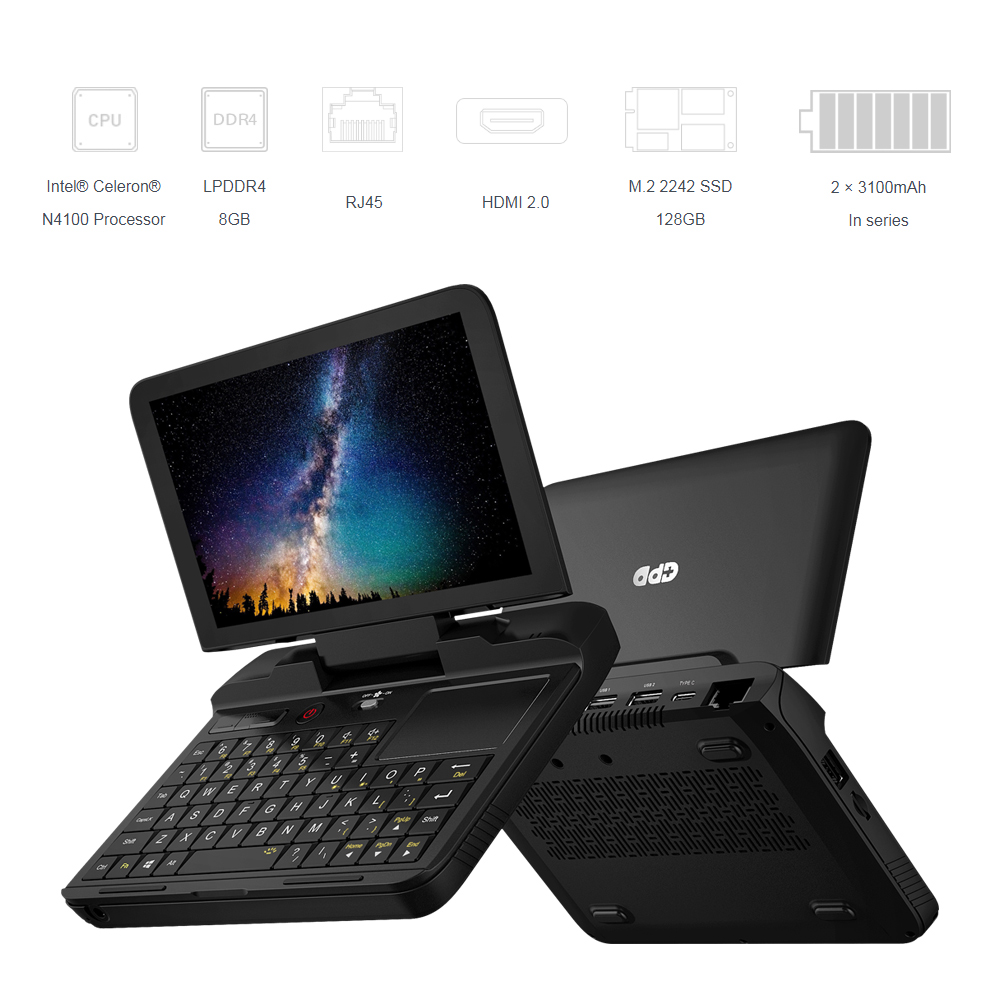 GPD MicroPC Micro PC 6 <font><b>Inch</b></font> Intel Celeron N4100 Windows 10 Pro 8GB RAM 128GB ROM Pocket <font><b>laptop</b></font> Mini PC Computer Notebook image