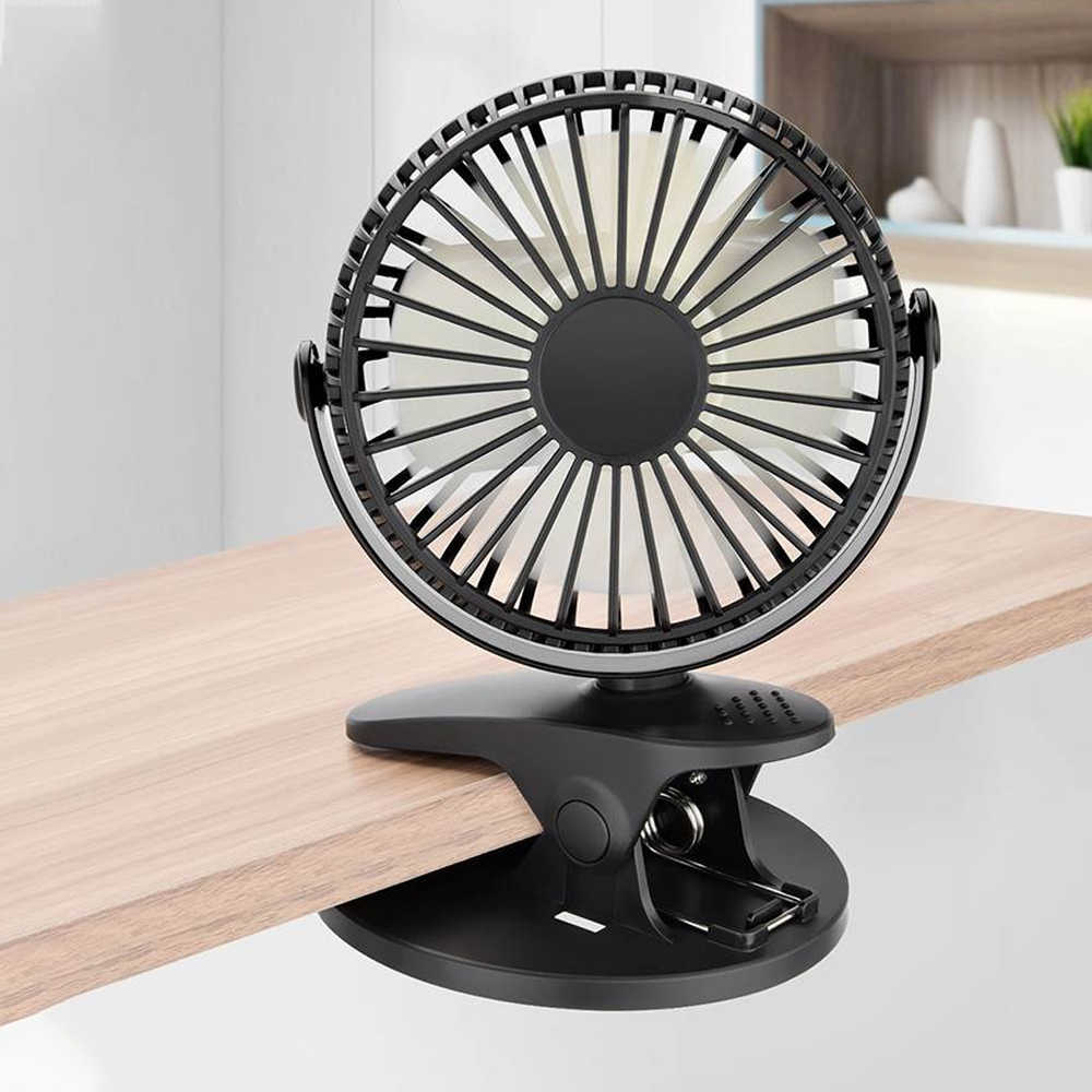 Portable Desktop USB Fan Mini Clamp Silent Fan 360-degree Rotating USB Rechargeable Air Fan Home ABS Electric Computer Table Fan