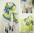 Бесплатная доставка продажа Za новое элегантный синий белый и желтый цветок кисточки ультра длинный мыс шарф платки солнце - вс-затенение шарф