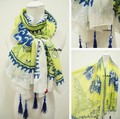 Free Shipping Hot Sale Za Brand New Elegant Blue White and Yellow Flower Tassels Ultra Long Cape Scarf Shawls Sun-shading Scarf