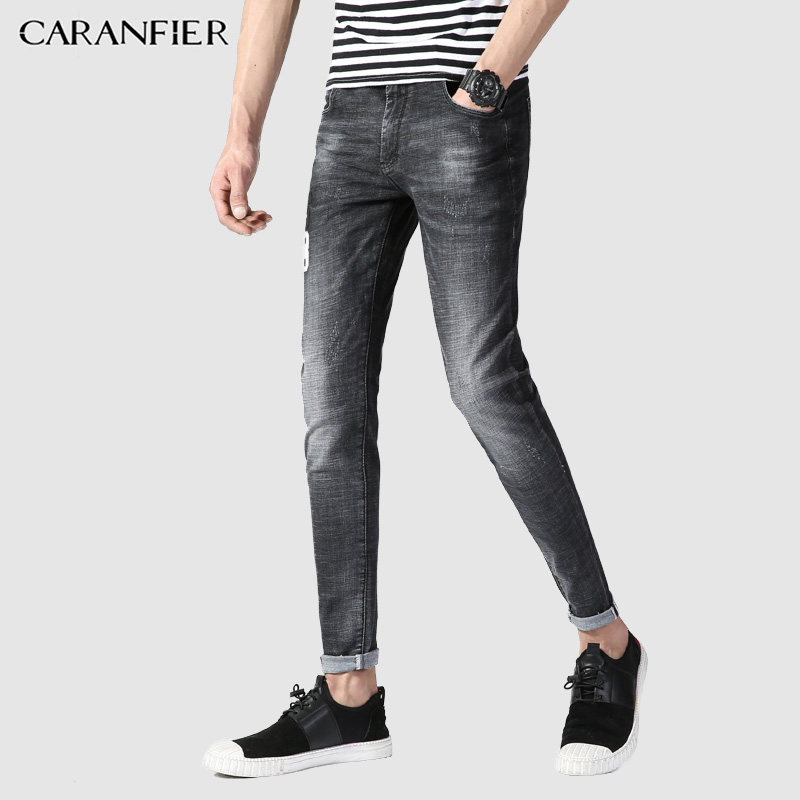CARANFIER Mens Jeans Spring Summer New Males Fashion Jeans Slim Feet Full Length Jeans Mens Stretch Jeans Embroidery 2018