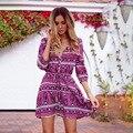 Boho Dress Women Dress Винтаж Цветочный Печати Mini Dress Глубокий V шея Sexy Dress Свободные Holiday Beach Dress Vestidos Плюс Размер XXL