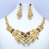 Real Austrian Rhinestone Crystals High Quality Skull Hand Necklace Earring Women Jewelry Sets Clearance Sale SNA3063