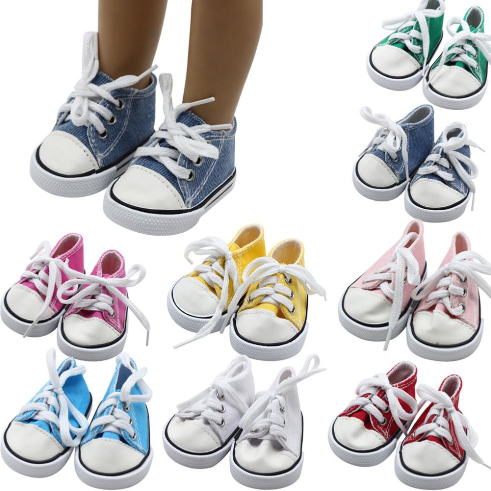 MUQGEW Canvas Lace Up Sneakers Shoes For 18 inch American Girl & Boy Dolls for dolls lol dolls for girls clothes for barbie