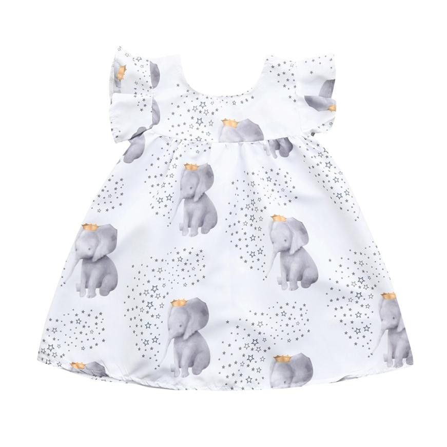 Toddler Infant Baby Girls Dress Stars Elephant Print Dresses Clothing Outfits Sleeveless A-Line Casual High waist Dresses