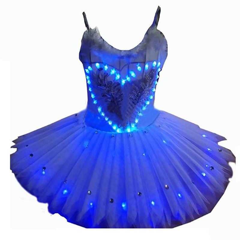 2017 Yeni Kızların Kuğu Bale Elbise dans kostümü Tutu Etek LED Ekran ile 5 Renk XXXS-XXXL