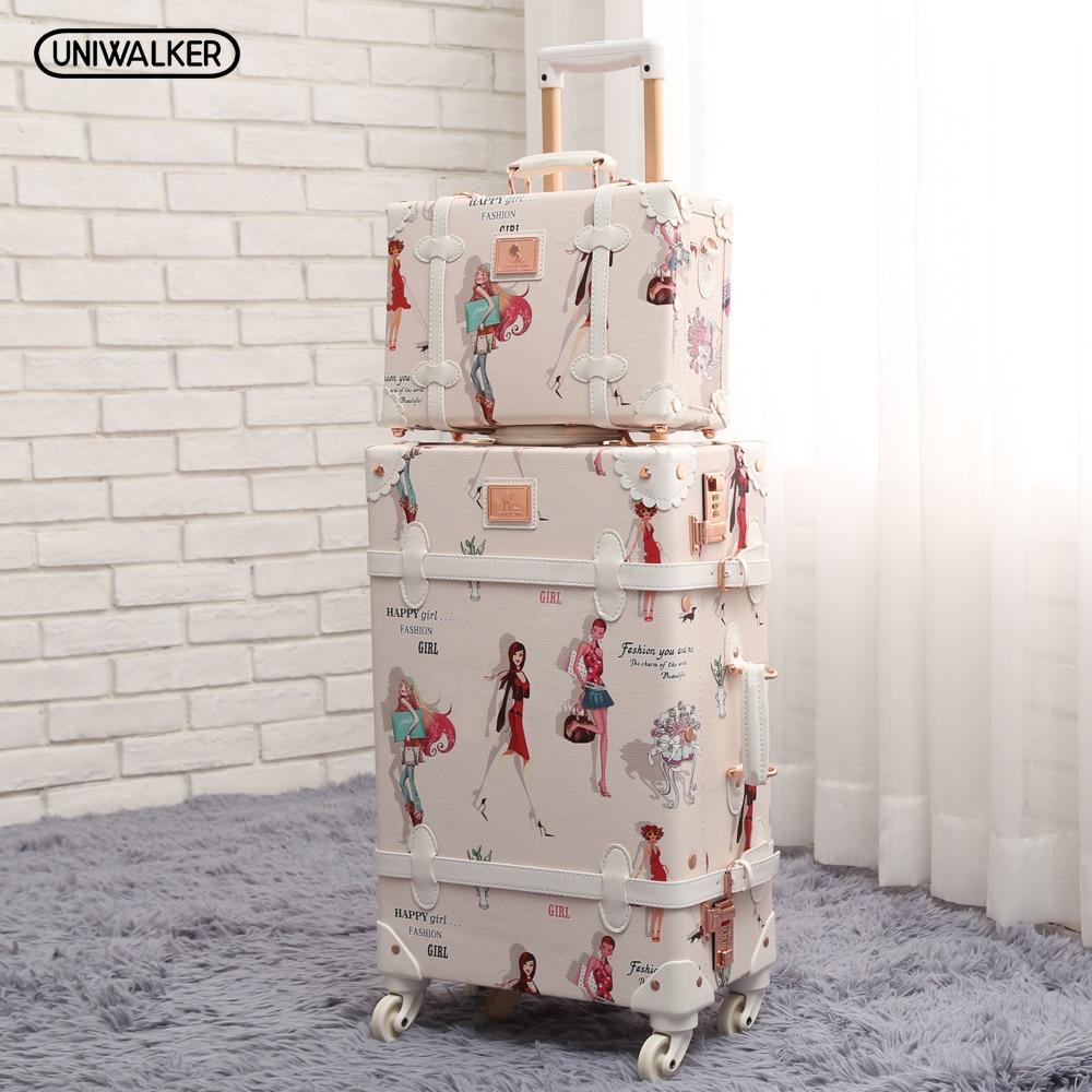 UNIWALKER 20 - 26 Fashion Girl Retro Rolling Luggage Bagages Pu Leather Suitcase Trunk Vintage Valiz Spinner Wheels Trolley