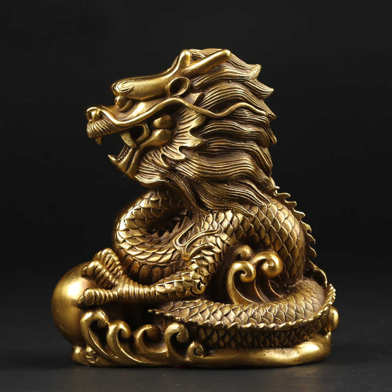 Copper Dragon Zodiac Chinese Dragon Mascot Decoration the location of a house or tomb Lucky Home Furnishing Handicrafts Statue