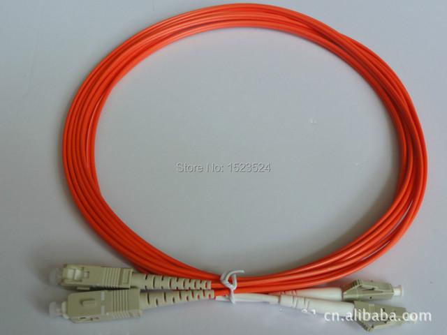 Envío gratis 10 unids/lote fibra óptica Patch cord Jumper Cable SC-LC multimodo 62.5 / 125 OM1 MM Patchcord Duplex PVC naranja 2 MM 3 M