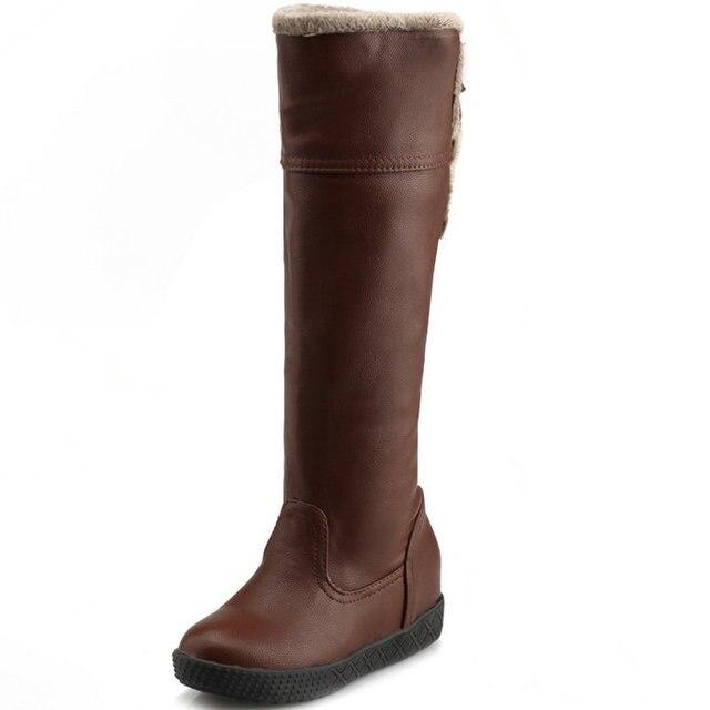 af31688329b Mujeres zapatos de mujer rodilla botas altas marrón negro pajarita dulce otoño  invierno mujer piel Warm