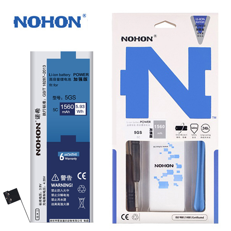 High Quality Original NOHON Battery For Apple iPhone 5S 5GS 5C Replacement Batteries Real 1560mAh Free Tools Retail Package