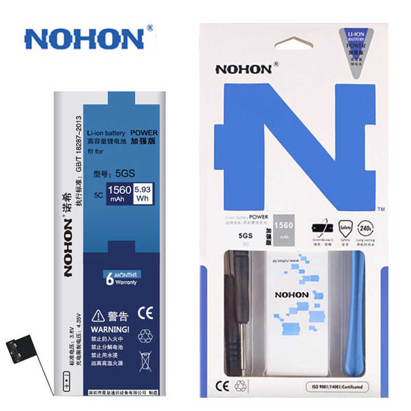 NOHON סוללה עבור Apple iPhone 8 7 6S 6 S בתוספת SE 5S 5C X Xr Xs מקס 4S 4 מקורי Bateria עבור iPhone6 6 בתוספת 6SPlus 7 בתוספת 8 בתוספת