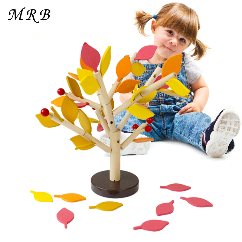Wooden Baby toys Table Tree Wood Building Block Study early Childhood Education Game Mon ...