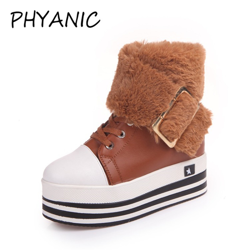PHYANIC New Brand Women Sneakers Lace up Casual Buckle Round Toe Women Shoes Spring/Autumn Warm British Shoes Woman CJF3186 glowing sneakers usb charging shoes lights up colorful led kids luminous sneakers glowing sneakers black led shoes for boys