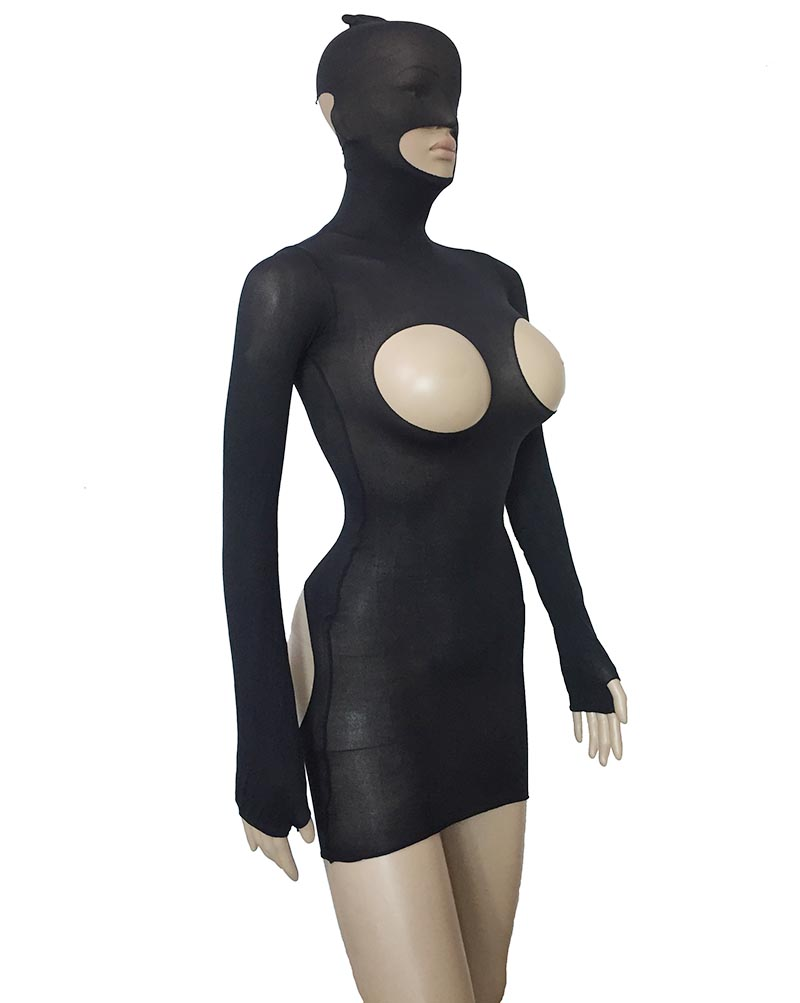 Sexy Women Fantasy Sheer Mesh Hooded Open Breast Open Butt Stretchy Micro Cupless Mini Dress Long Sleeve Bodysuit Lingerie