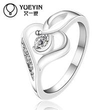 silver plated jewelry wedding ring Silver plated new design finger ring for lady bijoux women Inlaid Crystal(China)