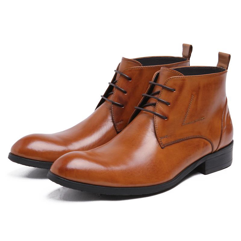 Large Size Eur45 Brown Black Tan Mens Ankle Boots Dress Shoes Genuine Leather