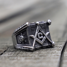 Vintage 316L Stainless Steel Rings Mens Sun and Moon Masonic Biker Ring Freemasonry Jewelry