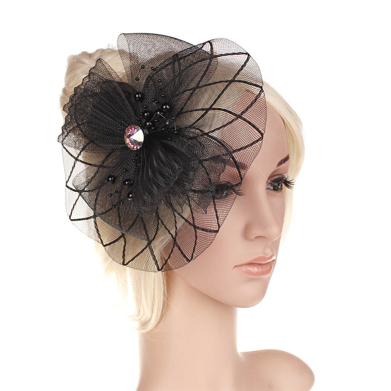 2016 Venta al por menor Wedding Holiday Fascinator Sombrero de Cóctel Para Las Mujeres Francés Veiling Hair Headband Vintage Fashion Lady Party Accesorio