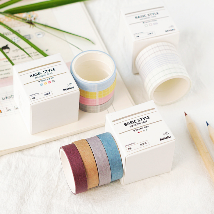 10mm*2m Grid Pure Color Base Series Washi Tape DIY Decoration Scrapbooking Planner Masking Tape Adhesive Tape Label Sticker