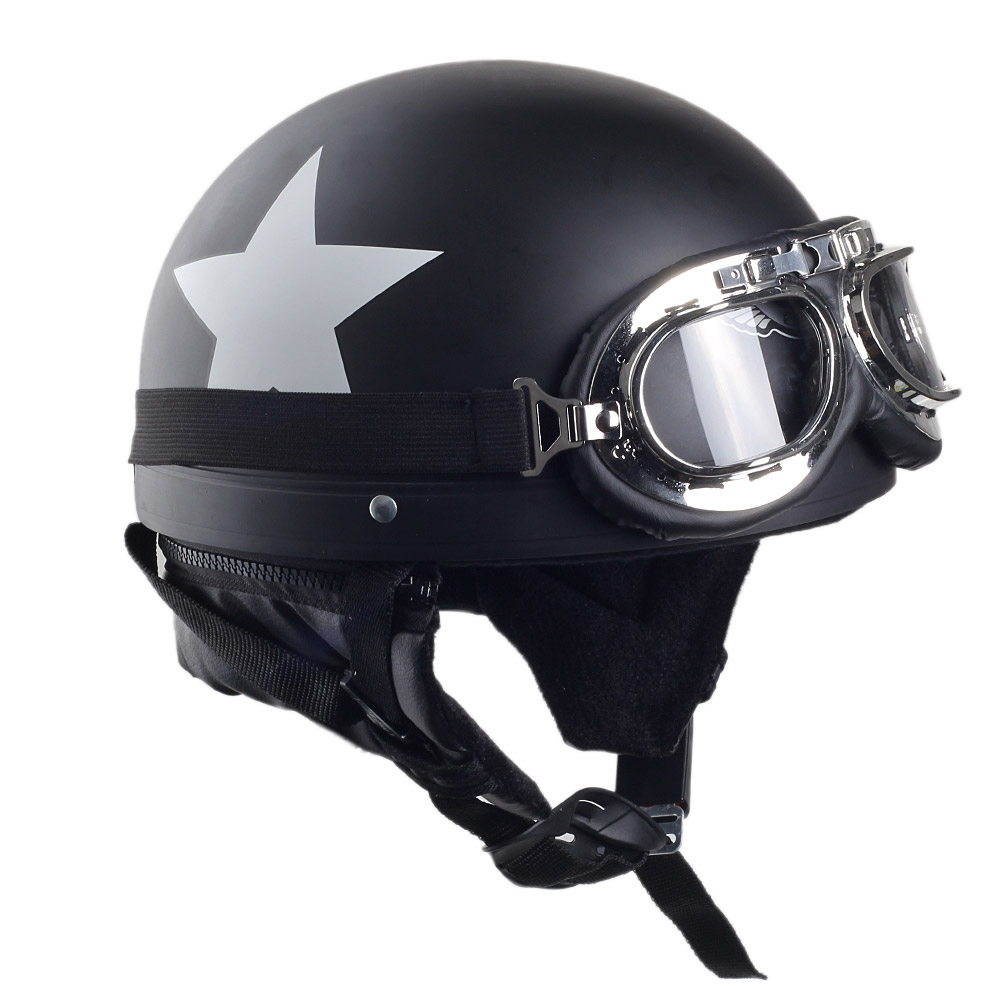 CARCHET Motorcycle Helmet with Goggles Detachable Visor Star Pattern Black Safety Motocross Helmets cascos para moto 55 60cm in Helmets from Automobiles Motorcycles