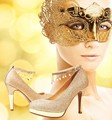 Luxury Wedding Pumps Glam Ladies Buckle Straps Gold Chains Crystal Bling Sequined Cloth Platform High Heel 10cm Shoes Size 33-40