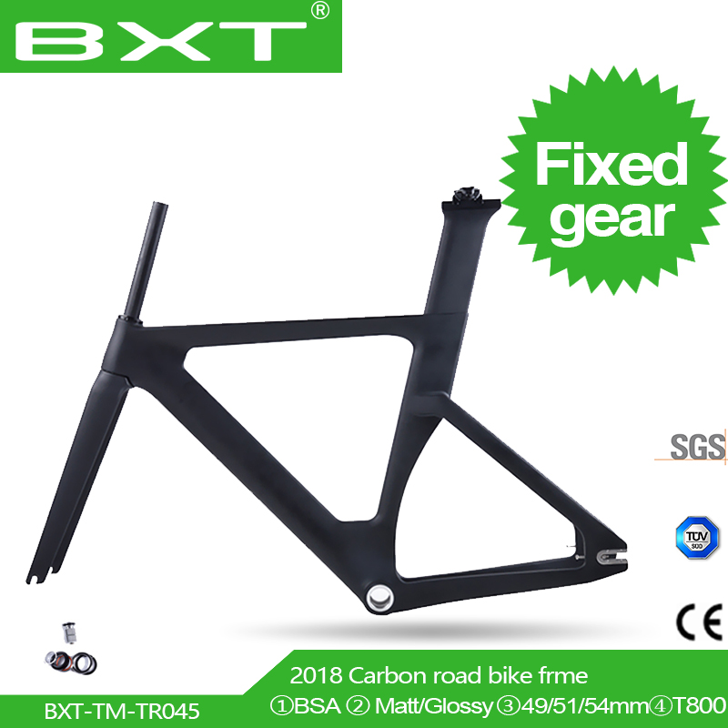 2018 New BXT Full Carbon Track Frame Carbon Track Bike Frameset With Fork Seatpost Road Carbon Frames Fixed Gear Bike Frameset