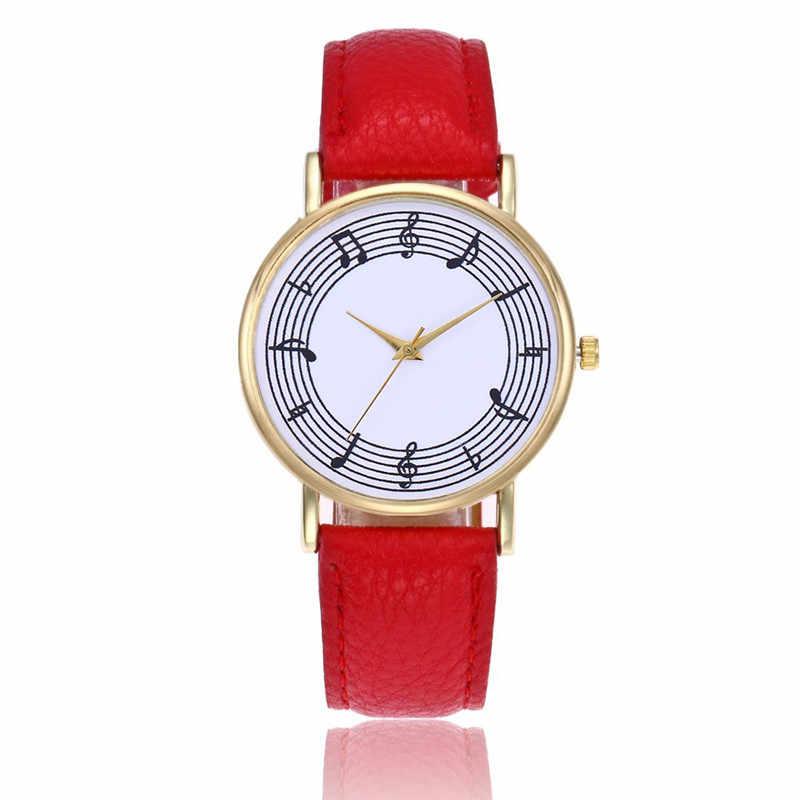 الكلاسيكية جميل الموسيقية ملاحظة النساء الساعات الأزياء العلامة التجارية eather ساعة معصم التناظرية ساعة كوارتز النساء ل دروبشيبينغ