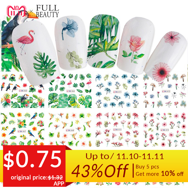Mixed 12 Nail Designs Water Transfer Sticker Nail Art DIY Tattoo Slider Flamingo Flower Feather Wraps Manicure Set