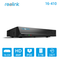 Reolink 16 Channel PoE NVR W 3TB HDD For Reolink PoE IP Cameras RLN16 410