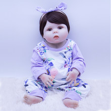 Cute fat face 56cm all Silicone Vinyl Body Reborn Baby Doll big eyes Lucy Princess lol Boneca For Girls Non-toxic best gift ken(China)