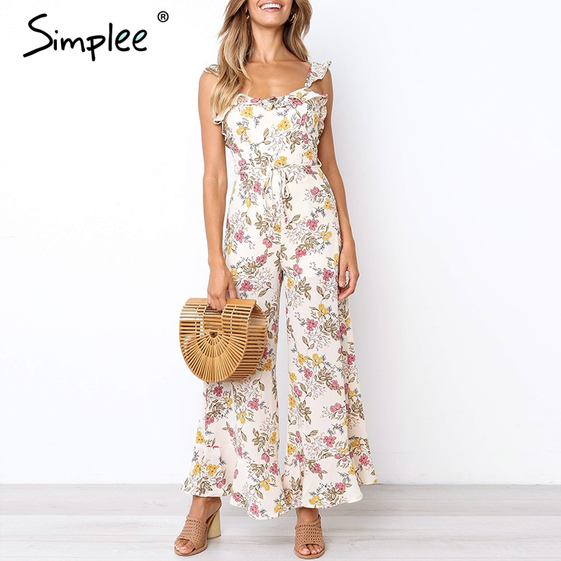 Simplee Vintage floral print boho   jumpsuit   plus size Ruffle tie up backless long summer   jumpsuit   Holiday beach wide leg overalls