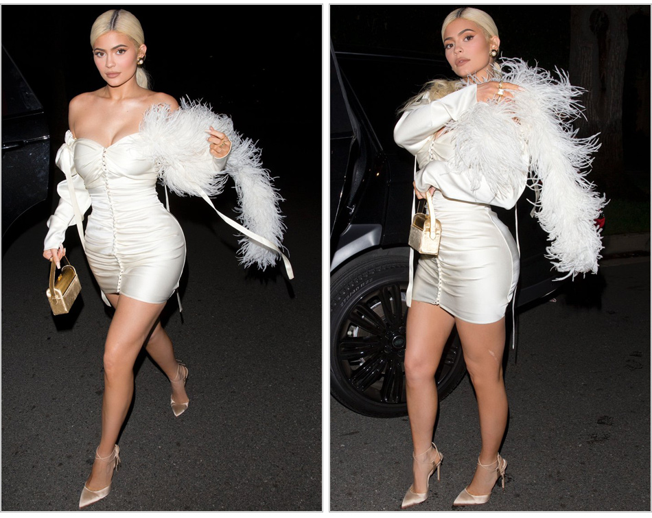 Chic Silk Feather Dress KylieJenner Night Out Off-the-shoulder Button Embellished Skintight White Mini Party Clubwear Sexy Frock - kylie-jenner-outfits