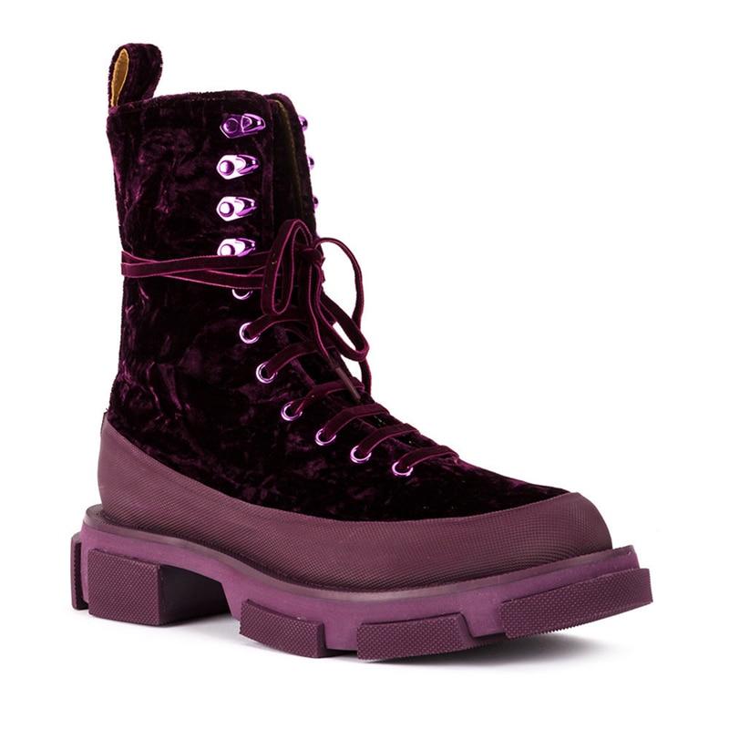 Nouveauté Britannique Purple Lacets Chic Noir Travail À Talons Armée dark Thickheel Buonoscarpe Bottines Bottes Courtes Velours 2018 Style Plateforme Hiver SnYw5qF