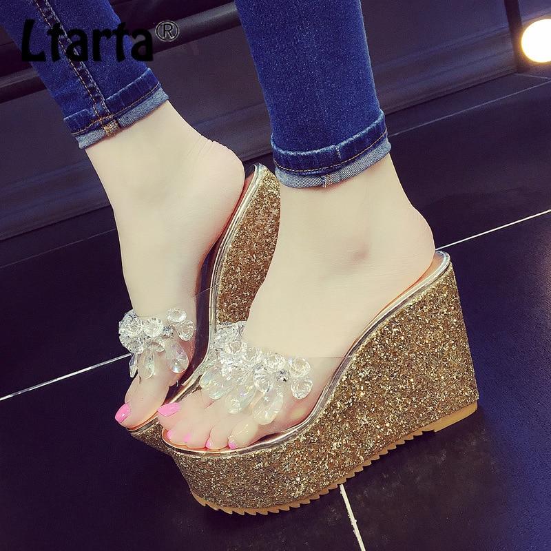 LTARTA Crystal Sandal Slippers Muffin Wedge High-Heel Fairy Fashion Chic SGLL-219NC